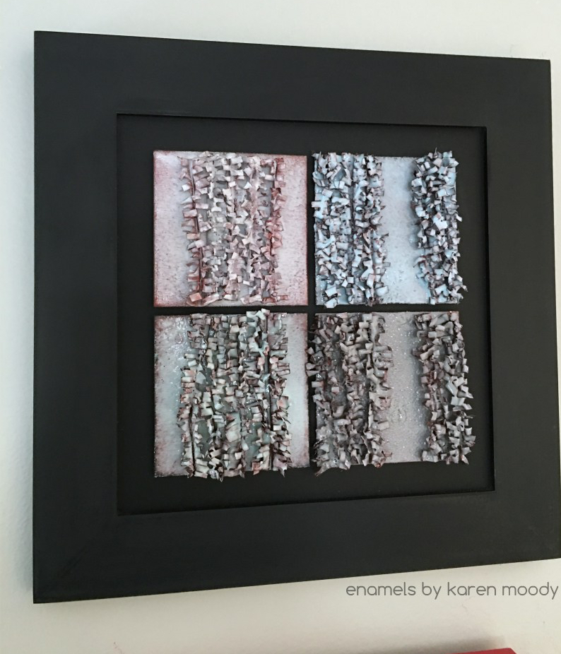 4 dimensional enameled tiles by karen moody