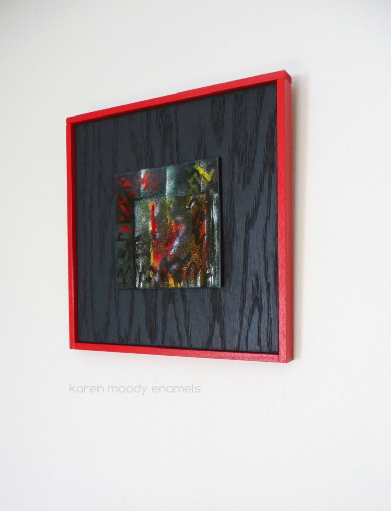 vitreous enamel abstract on copper--Dark--by karen moody