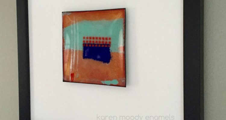 vitreous enamel abstract on copper--Wabasha--by karen moody