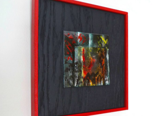 vitreous enamel abstract on copper tile--Dark--by karen moody
