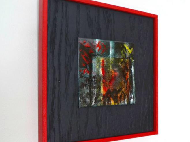vitreous enamel abstract on copper tile--Dark--by karen moody