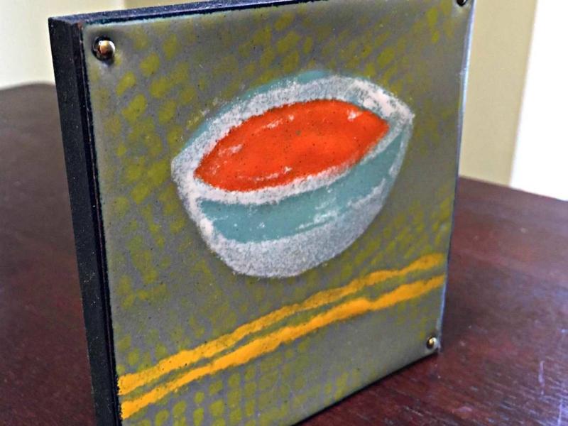 copper enamel tile--red bowl--by karen moody