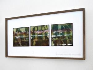 vitreous enamel on 3 copper tiles--Pond's Edge--by karen moody