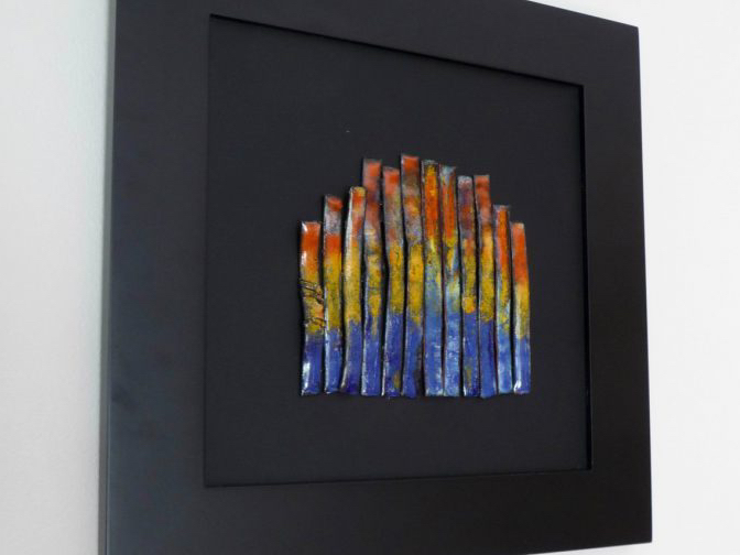 vitreous enamel on copper tube--Flame--by karen moody
