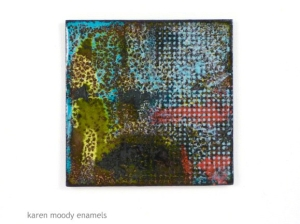 abstract copper enamel in frame by karen moody