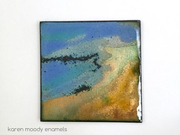 vitreous enamel on copper tile shoreline by karen moody
