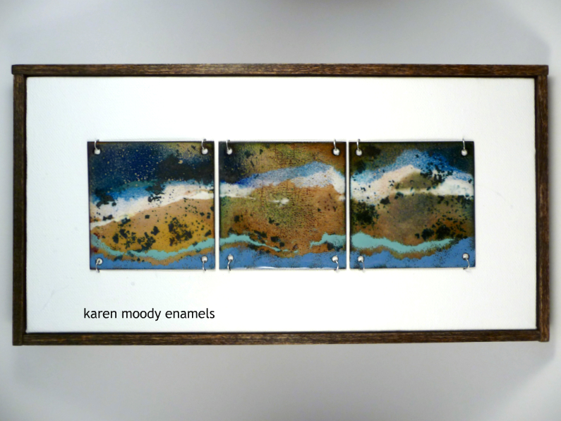 abstract 3-tile vitreous enamel tiles on canvas Tidal Pool by karen moody