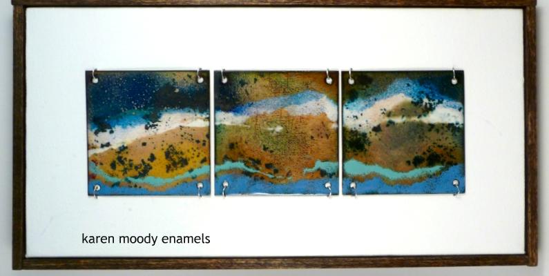 abstract 3-tile vitreous enamel tiles on canvas Tidal Pool by karen moody