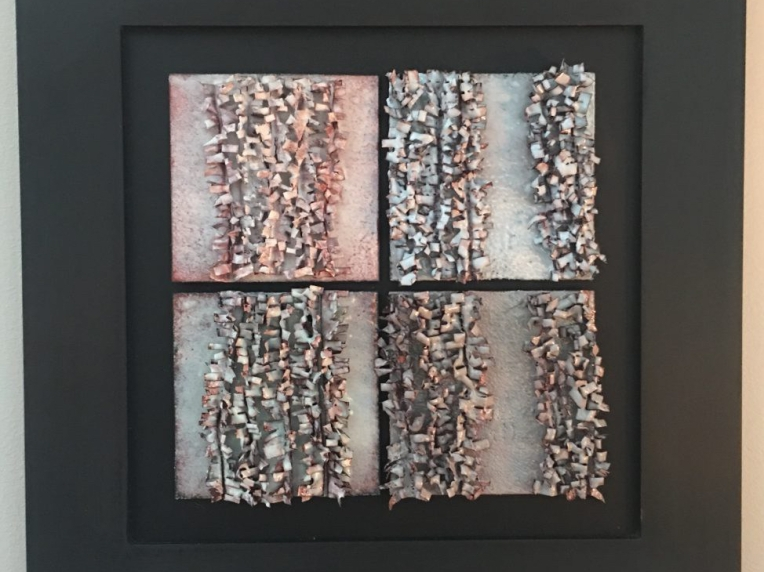 kiln-fired copper enamel pieces wall sculpture