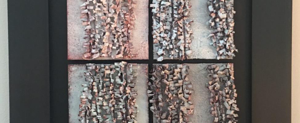 kiln-fired copper enamel pieces wall sculpture