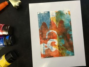 Vivid Rooster Abstract Monoprint