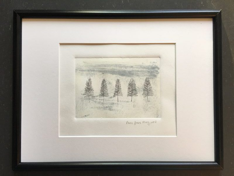 Trees in Winter drypoint intaglio over monotype