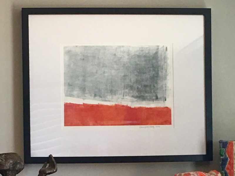 Abstract red and grey monotype