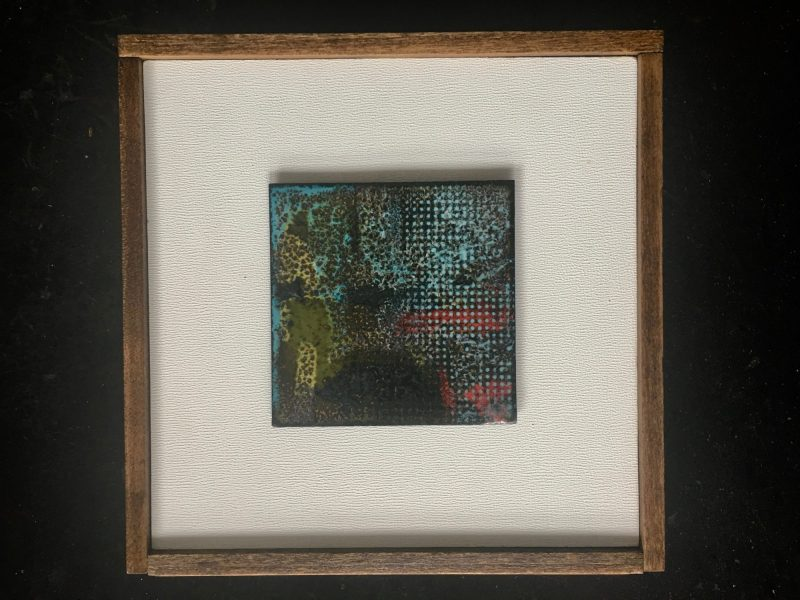 Prairie abstract copper enamel tile