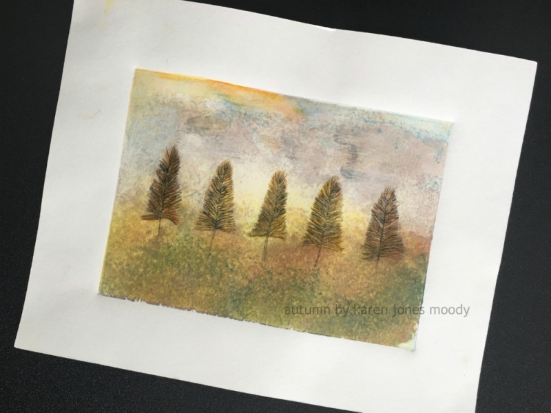 5 Trees Autumn drypoint intaglio monoprint