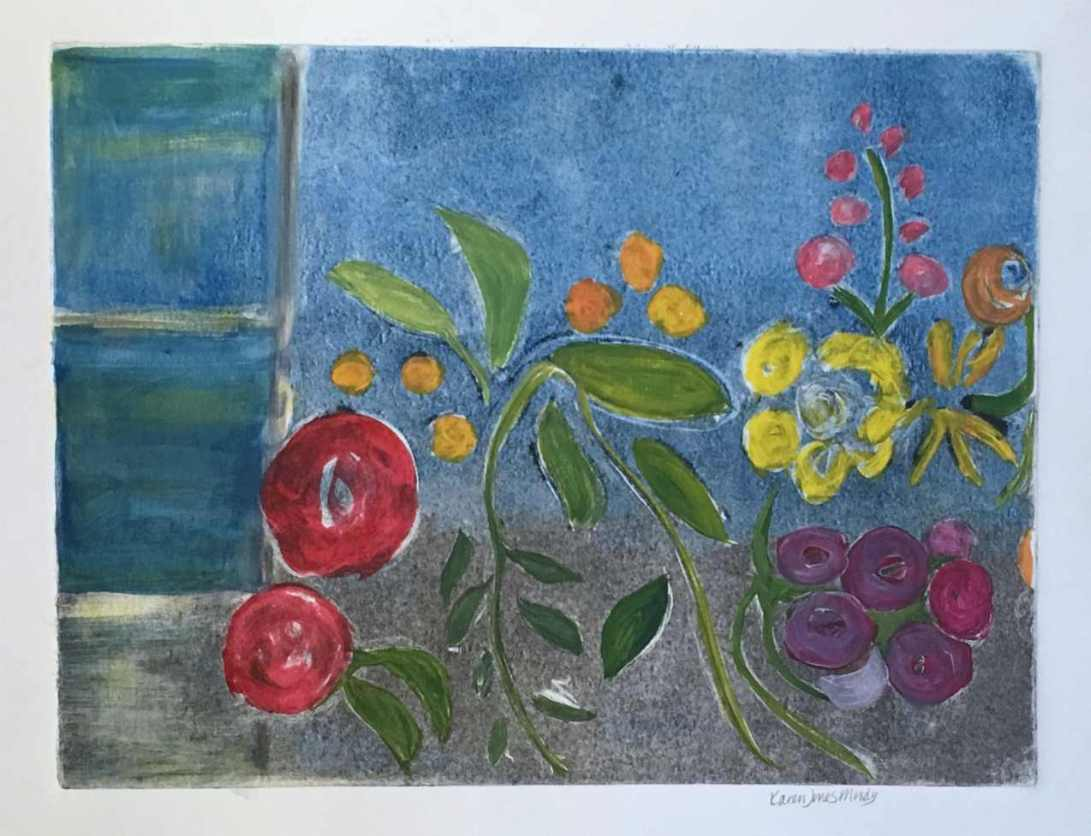 Monotype window box of flowers with a view of the blue sea beyond by Karen Moody