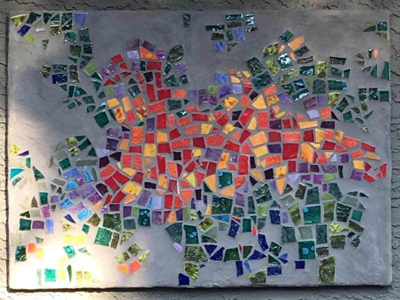 abstract outdoor mosaic orange, yellow, green, blue by karen moody