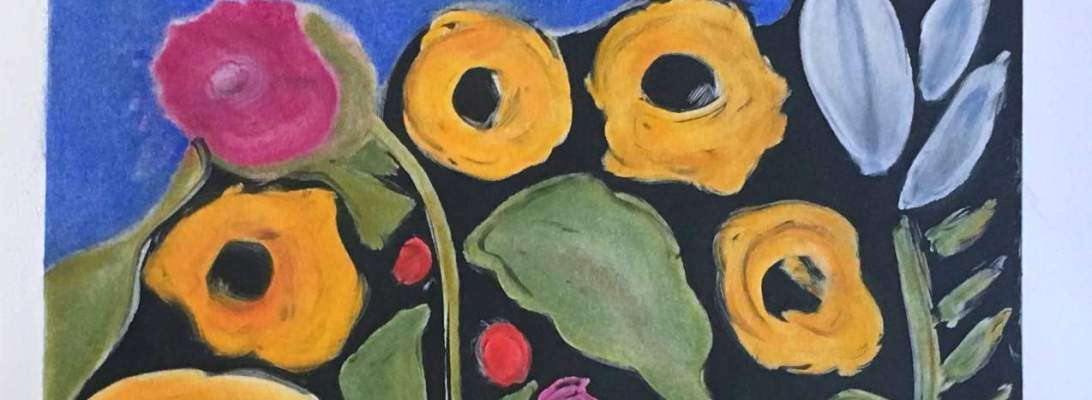 bright floral monoprint abstract expression by KarenMoody.com