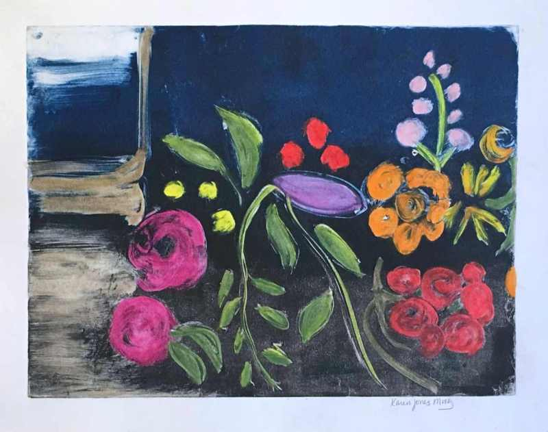 abstract expression of flowers in a window box Meea by karen moody