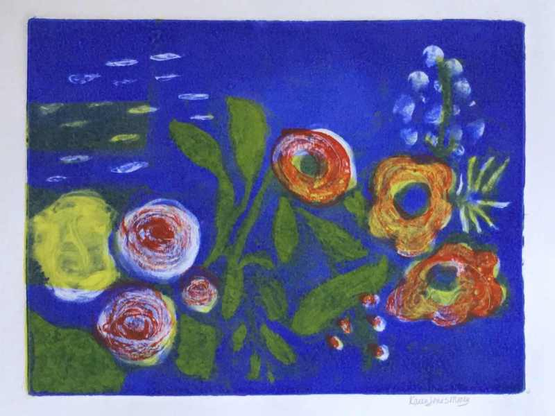Monoprint abstract expression of flowers and leaves in primary and secondary colors Pond by Karen Moody
