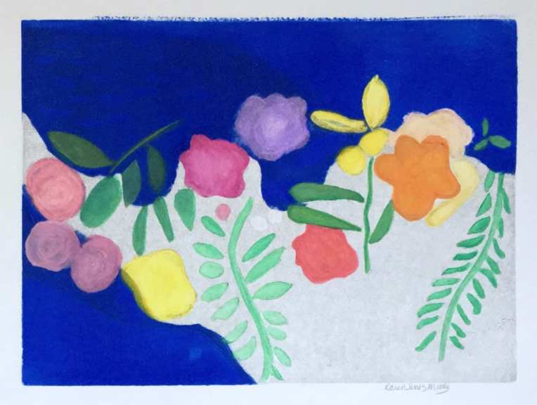 brightly colored flowers painted with blue sea behind